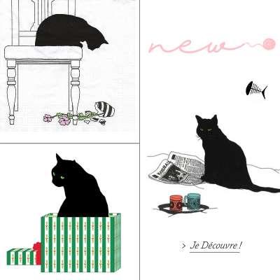 serviettes en papier motif chats miniss gartavous