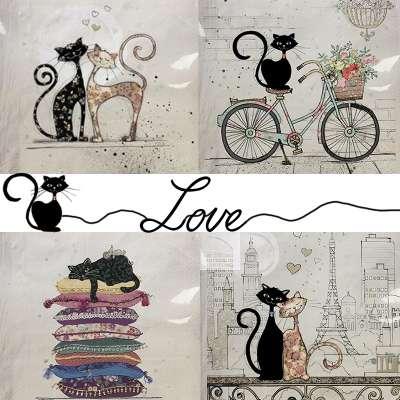 serviettes en papier motifs chats sur le thème de l'amour gartavous