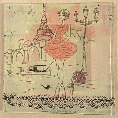 mini kit la petite robe rose peinture sur verre et dentelle gartavous