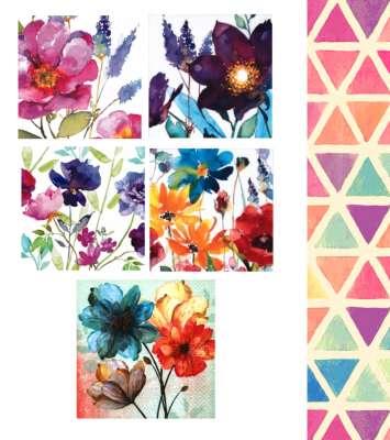 serviettes en papier aquarelle colorée fleurs gartavous