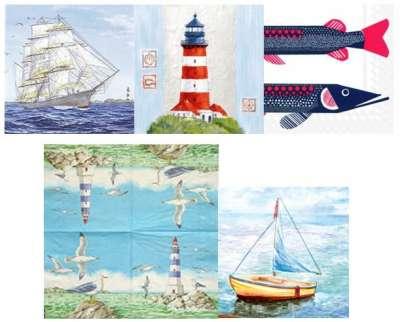 serviettes en papier mer mouette phare bateaux gartavous