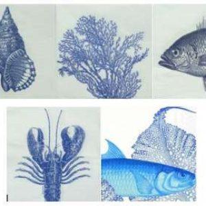 Serviettes Mer en Bleu et Blanc