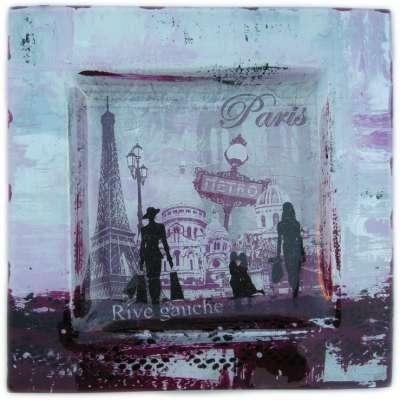 Paris Rive Gauche kit créatif peinture sur verre dentelle niveau 2 fond clair fond foncé gartavous