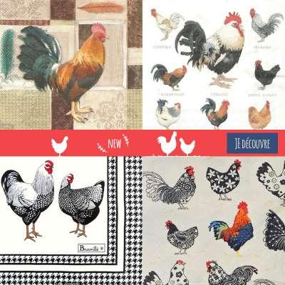 Serviettes en papier motifs poules et coq gartavous