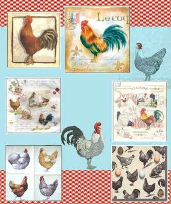 serviettes en papier poules et coq gartavous