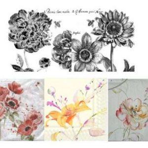 Serviettes Fleurs et Aquarelle