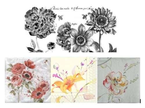 serviettes en papier fleurs et aquarelle colorées ou N&Bgartavous