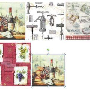 Serviettes Vins et Fromages