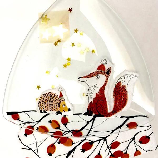 kit petits pas matériel peinture sous verre avec motifs merry christmas et foxy gartavous