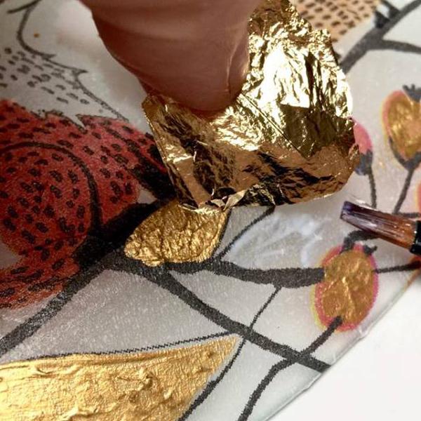 kit petits pas feuille d'or peinture sous verre avec motifs merry christmas et foxy gartavous