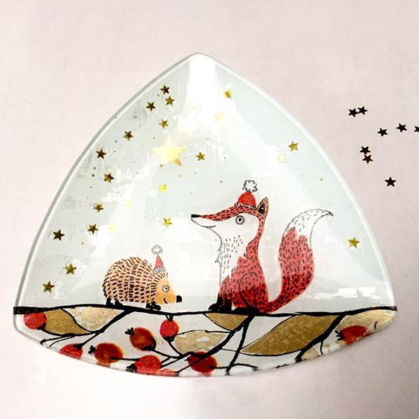 kit petit pas résultat final peinture sous verre avec motifs merry christmas et foxy gartavous