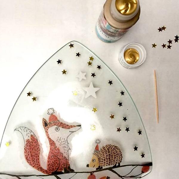 kit petits pas peinture pas complet peinture sous verre avec motifs merry christmas et foxy gartavous