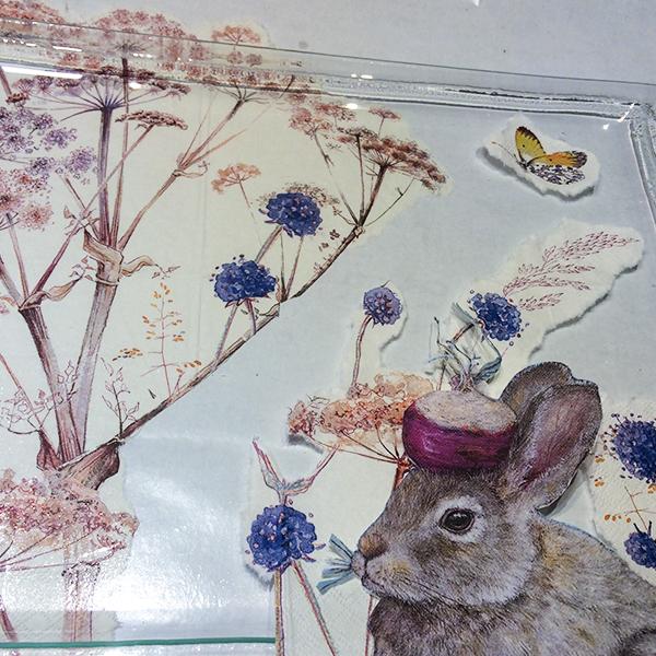 kit petits pas complet peinture sous verre lapin et radis collage gartavous