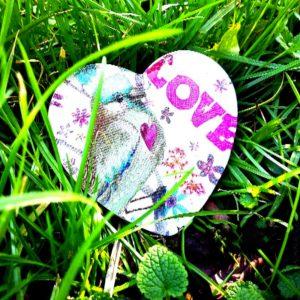 """Coeur décoré """"Bird and Love"""""""
