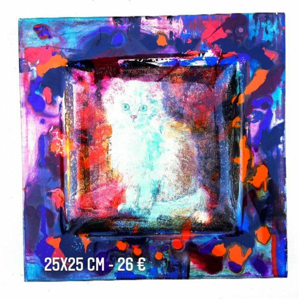 chat et aquarelle sur verre peinture émaillée gartavous assette à vendre