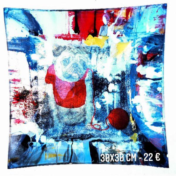 plat décoré à vendre chien pelotte peinture émaillée et serviette en papier sous verre gartavous