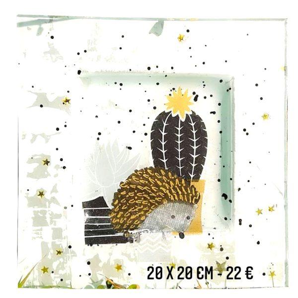 décoration sur verre à vendre ambiance noël hérisson et cactus peinture émaillée sur verre gartavous et transfert papier serviette en papier