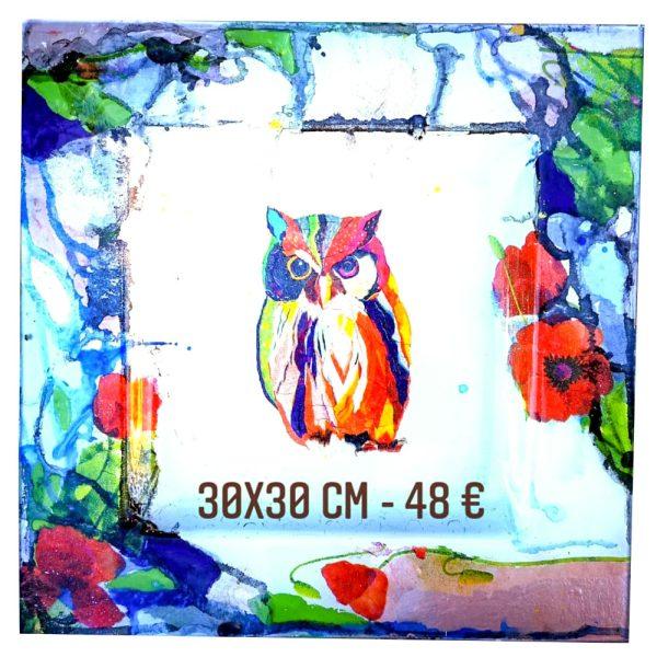 plat décoré à vendre hibou et technique aquarelle sur verre gartavous