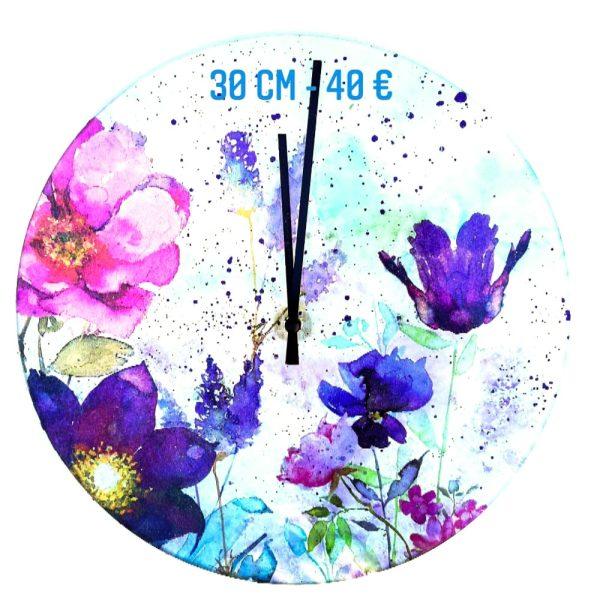 Horloge décorée à vendre technique peinture sur verre et transfert serviette en papier et peinture émaillée gartavous