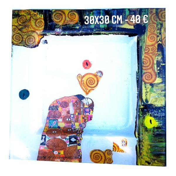 Plat décoré à vendre inspiration le baiser de klimt peinture émaillée gartavous