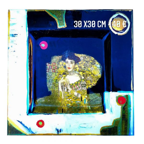 Plat décoré à vendre Klimt et Melle Adèle peinture sur verre et collage de serviette en papier artiste klimt gartavous