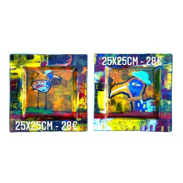 duo d'assiettes décorées à vendre technique de peinture émaillée sous verre gartavous