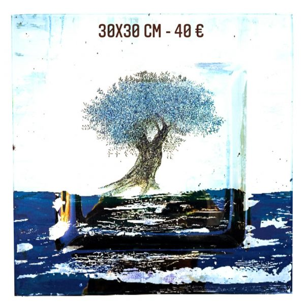 Plat décoré à vendre l'olivier peinture sur verre et serviette en papier gartavous