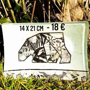 """Plat décoré """"L'Ours Origami"""""""