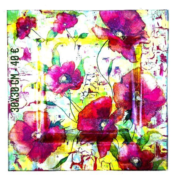Plat décoré à vendre les pavots technique peinture sur verre et serviette en papier transfert gartavous