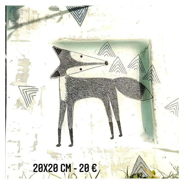 assiette décorée à vendre renard en noir et blanc papier et peinture émaiullée gartavous