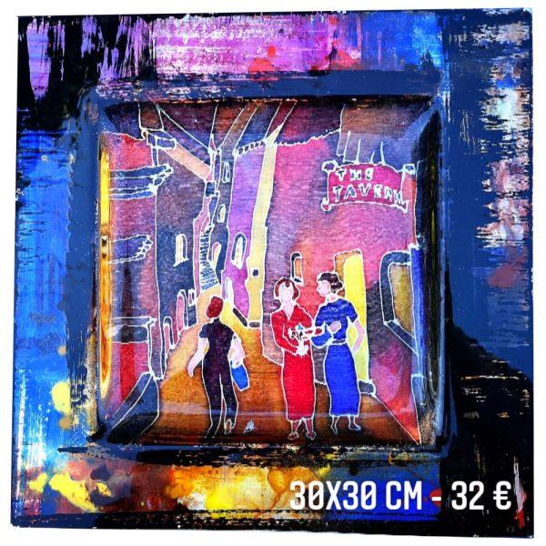 Plat décoré à vendre peinture sur soie et peinture émaillée gartavous
