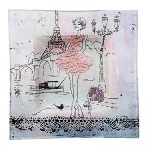 """Assiette décorée """"La Petite Robe Rose"""" Petit Format"""