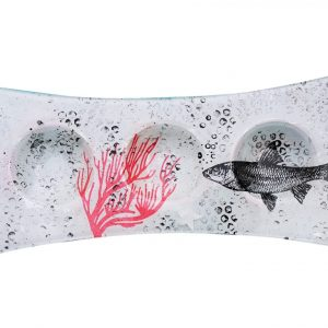 """Plat 3 cases décoré """"Le poisson et le corail"""""""